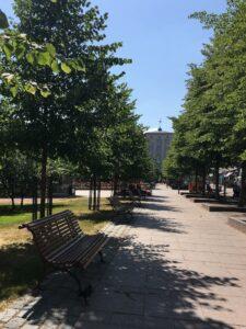 Päivä kaupungilla ja 33 astetta. Kirkkopuiston jokaisella penkillä on oma varjostava puunsa.